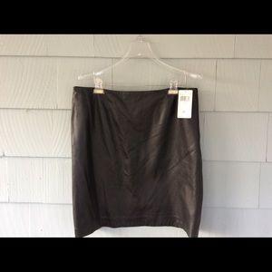 Dana Buchman black leather skirt, NWT